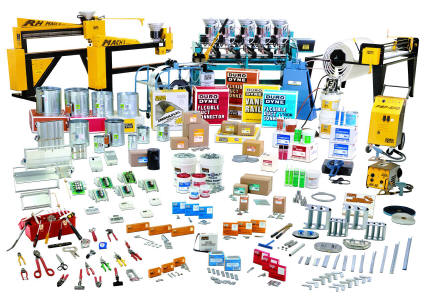 Duro Dyne Sheet Metal Equipment And Accessories, including Insulation cutters and machines, Insulation mechanical and weld type fasteners, Adhesive and adhesive applicators, Portable spot welders!